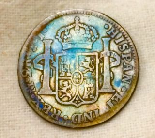 1821 Mo J.  J Mexico Silver 2 Reales Ferdinand Vii - Toned photo