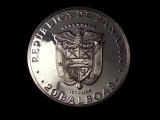 1977 Panama 20 Balboas Proof Silver Coin (ln23) photo