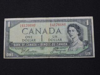 1954 $1 Dollar Bank Note Canada Devils Face O/a4176686 Beattie - Coyne F Grade photo