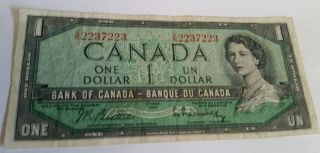 1954 Modified One Dollar Repeater Banknote V/n2237223 Check It Out photo
