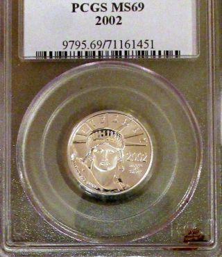 2002 (1/4oz) $25 Platinum American Eagle (pcgs Ms - 69) photo