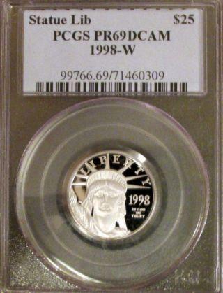 1998 - W 1/4 Oz $25 Proof Platinum American Eagle Pcgs Pr - 69 Dcam photo
