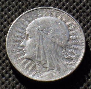 Old Silver Coin Of Poland 5 Zloty 1933 Jadwiga Second Republic Ag (b) photo