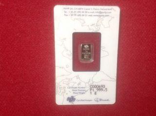 1 Gram Platinum Bar - Pamp Suisse - Fortuna - 999.  5 Fine In Assay photo
