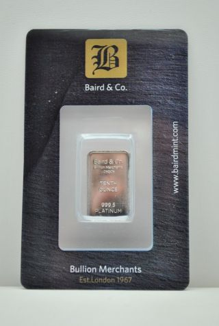 1/10th Ounce 999.  5 Platinum Bullion Bar Baird & Co.  Ga3 photo