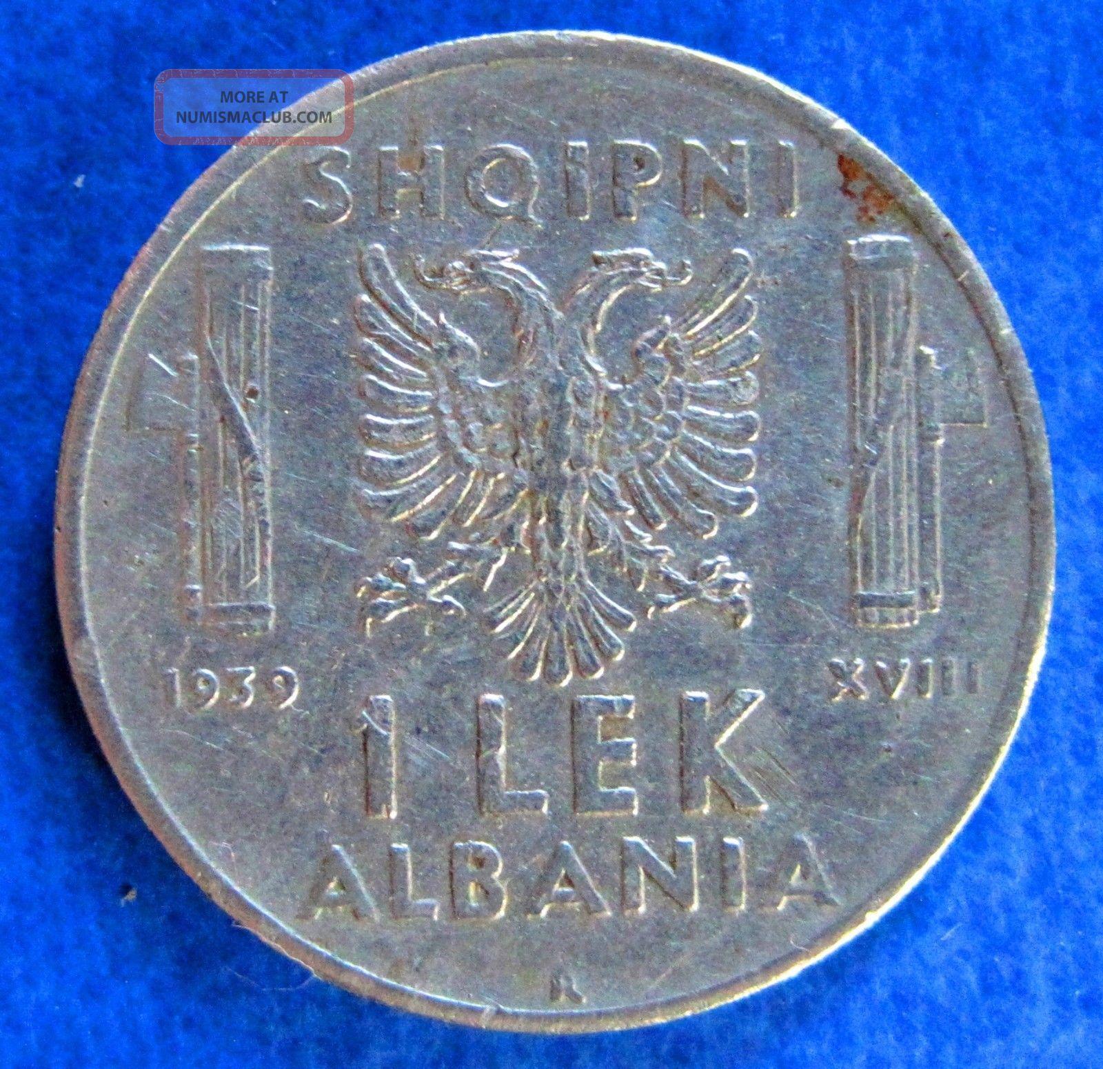 1939 Albania Coin 1 Lek Stainless Steel - Vittorio Emanuele Iii Albania photo