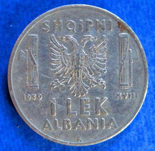 1939 Albania Coin 1 Lek Stainless Steel - Vittorio Emanuele Iii photo