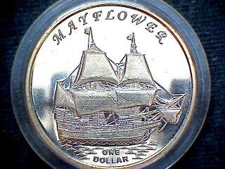 Gilbert Islands Kiribati 2014 Dollar,  Mayflower Sailing Ship Fantasy Coin photo