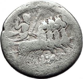 Roman Republic 136bc Roma Jupiter Chariot Authentic Ancient Silver Coin I58834 photo