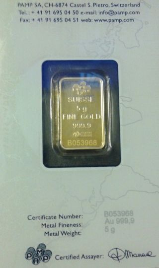 5 Gram Pamp Suisse Gold Bar.  9999 Fine (in Assay) Fortuna Certified Assay Save photo