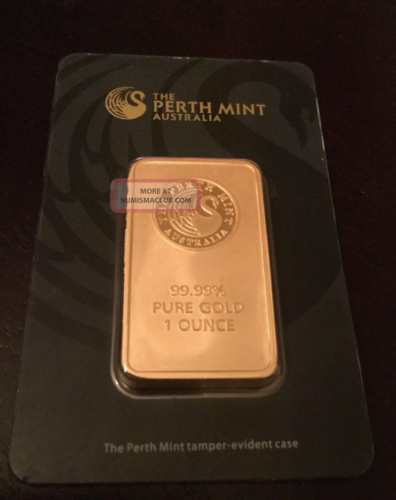 1 oz Perth Mint Gold Bar .9999 Fine Gold With Assay Cert