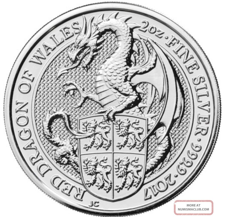2017 2 Oz British Silver Queen's Beast Dragon Coin.  Pre - Order For 3/19/2017. Silver photo