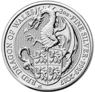 2017 2 Oz British Silver Queen's Beast Dragon Coin.  Pre - Order For 3/19/2017. photo