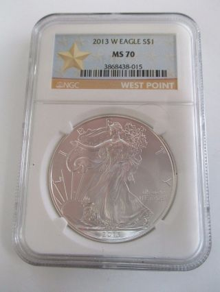 Ngc Ms70 2013 - W Burnished Silver American Eagle West Point Star Label photo