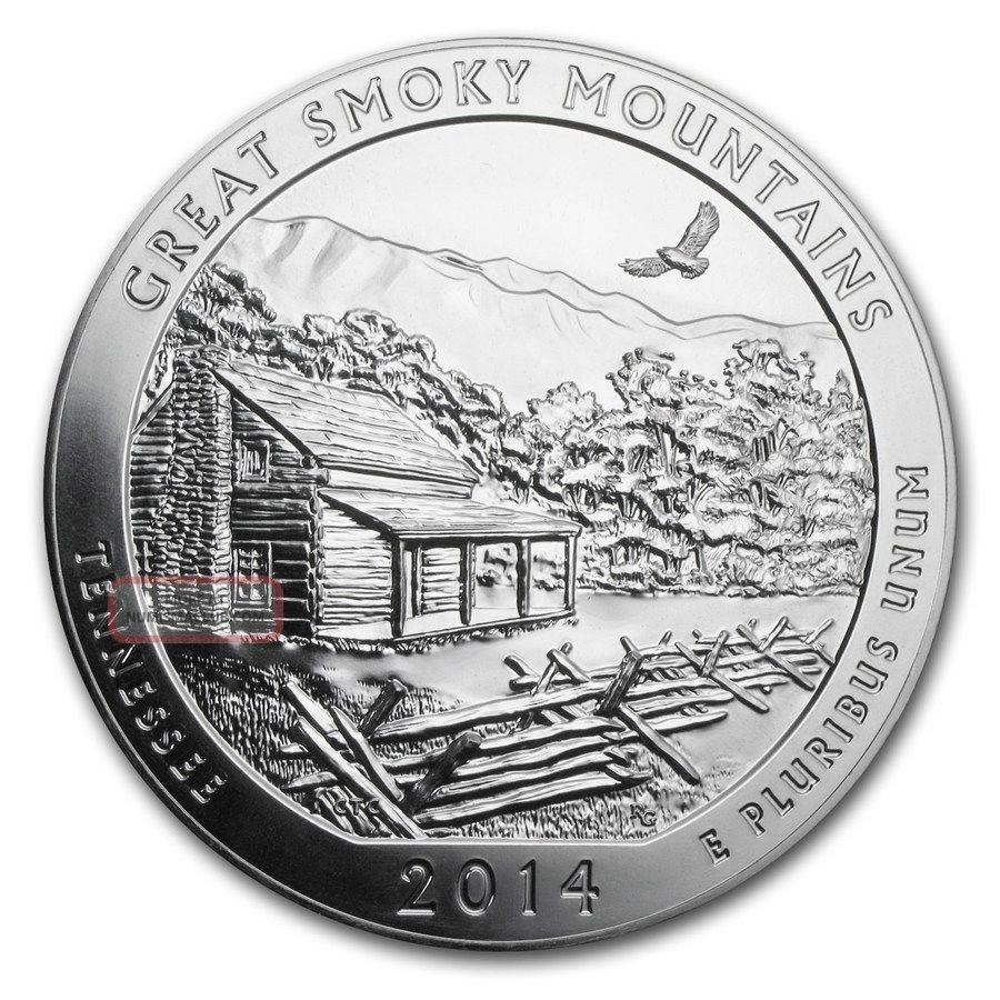 2014 5 Oz 25c Silver America The (atb) Great Smoky Mountain Silver photo