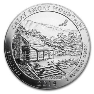2014 5 Oz 25c Silver America The (atb) Great Smoky Mountain photo