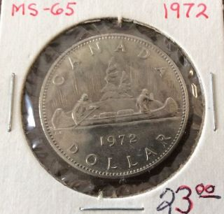 1972 Canada Specimen.  375 Ounce Silver Dollar Coin photo