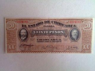 20 Peso Mexico Chihuahua Banknote 1915 Madero Revolucion Unc. photo