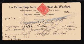 1921 La Caisse Populaire - Ste - Rose De Watford,  Quebec - C/w Revenue Stamps photo