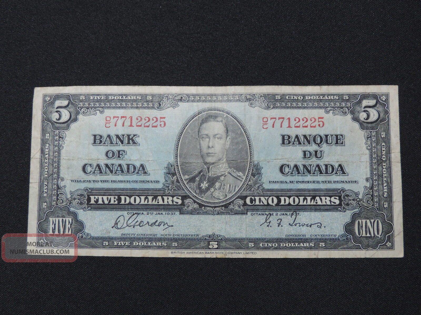 1937 $5 Dollar Bill Bank Note Canada D/c7712225 Gordon - Towers F Canada photo