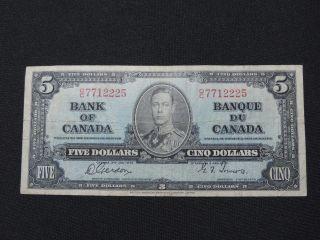 1937 $5 Dollar Bill Bank Note Canada D/c7712225 Gordon - Towers F photo