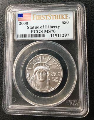 2008 Pcgs Ms70 Fs $50 Platinum Eagle (1/2 Oz.  Coin) photo