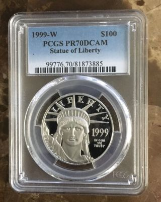 1999 Pcgs Pf70 $100 Platinum Eagle (1 Ounce Coin) photo