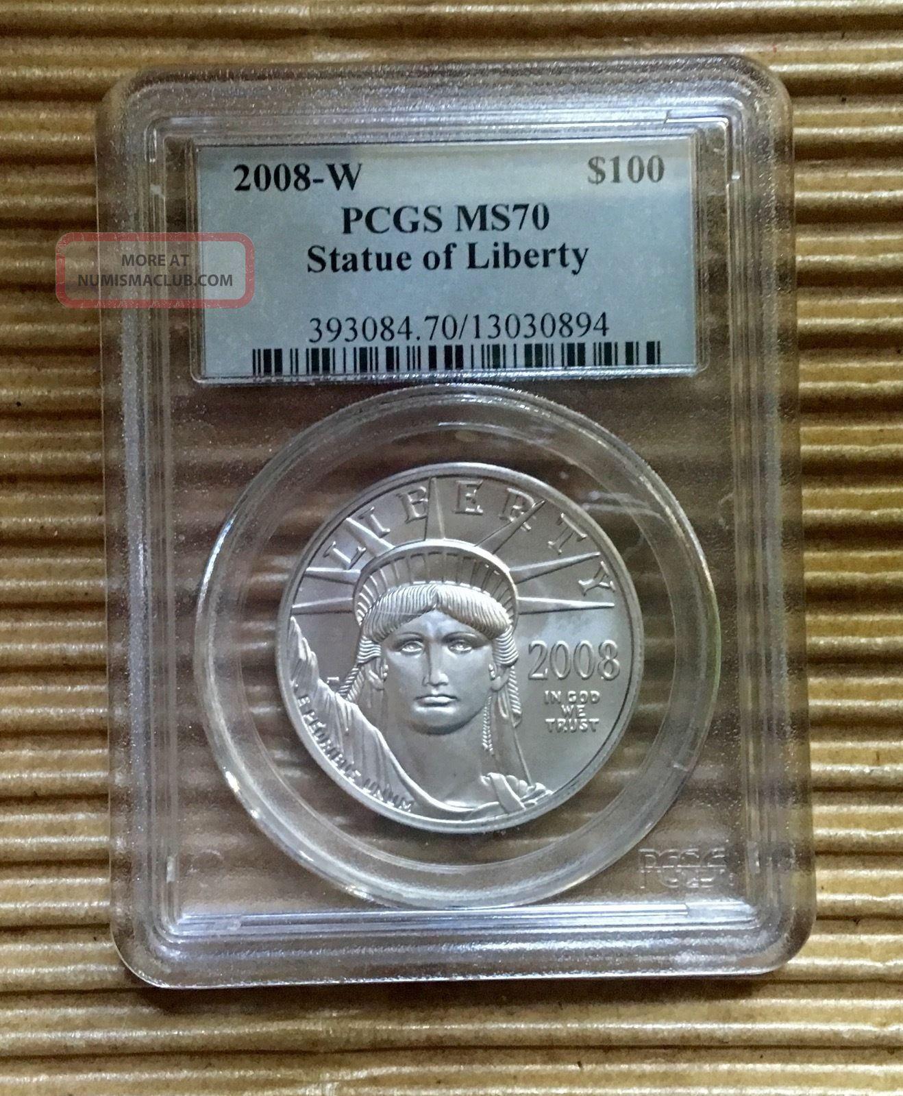 2008 - W $100 Platinum Statue Of Liberty Ms70 Pcgs Platinum photo