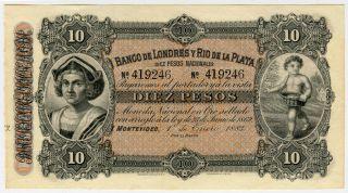 Uruguay 1883 Banco De Londres Y Rio De La Plata 10 Pesos Crisp Unc.  Pick - S242r. photo