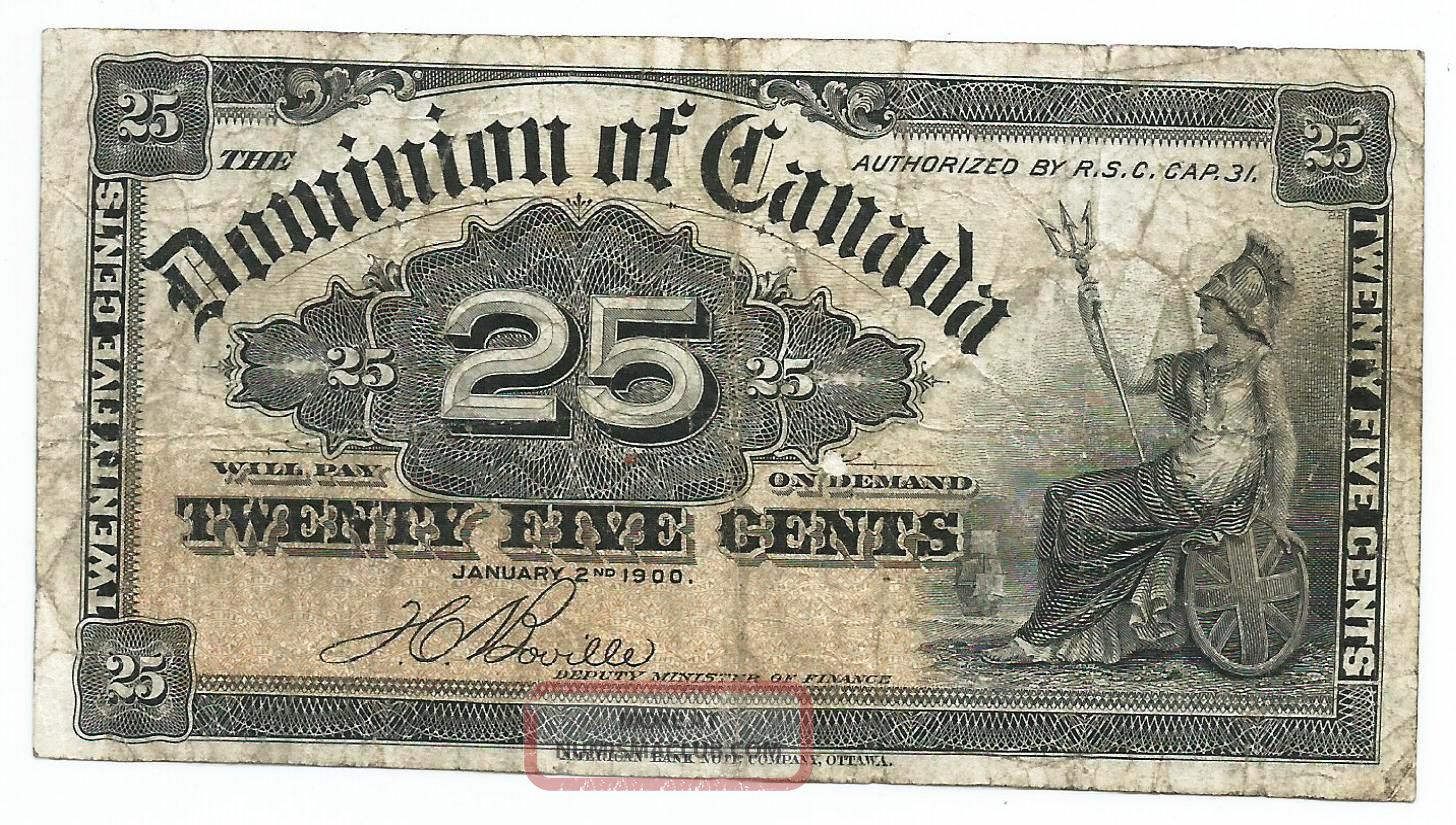 1900 Dominion Of Canada Paper Bill 25 Cents.  Britannia Seated.  Sign Boville Canada photo