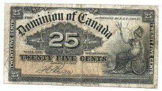 1900 Dominion Of Canada Paper Bill 25 Cents.  Britannia Seated.  Sign Boville photo