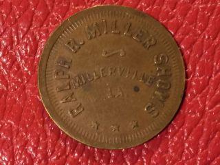 Ralph R Miller Shows Millerville La Circus Fair Coin Token Scrip Trade G/f.  25c photo