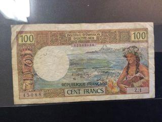 1971 Tahiti Paper Money - 100 Francs Banknote photo