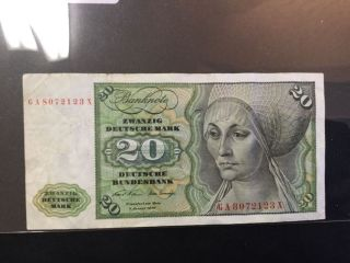 1970 Germany Paper Money - 20 Mark Banknote photo