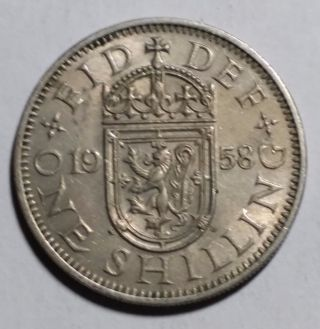 1958 One Shilling Great Britain/uk Coin photo