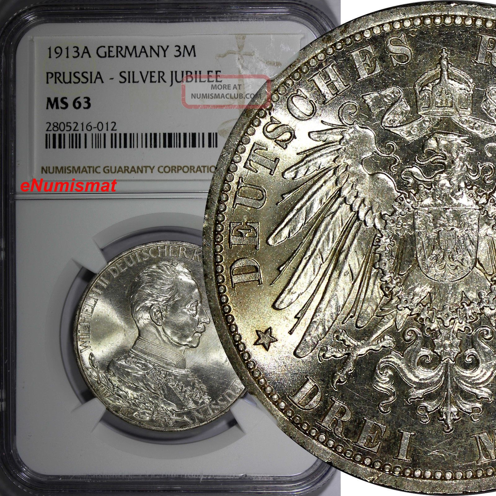 German States Prussia Wilhelm Ii Silver 1913a 3 Mark Ngc Ms63 Toned Km 535 Empire (1871-1918) photo