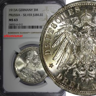 German States Prussia Wilhelm Ii Silver 1913a 3 Mark Ngc Ms63 Toned Km 535 photo