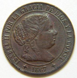 1/2 Centimo De Escudo 1867 Om Isabel Ii Jubia Copper photo