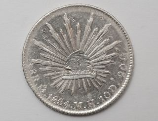 1884 Mexico 8 Reales Mo Mh - W/chopmarks - Very Low Circulation (km 377.  10) photo