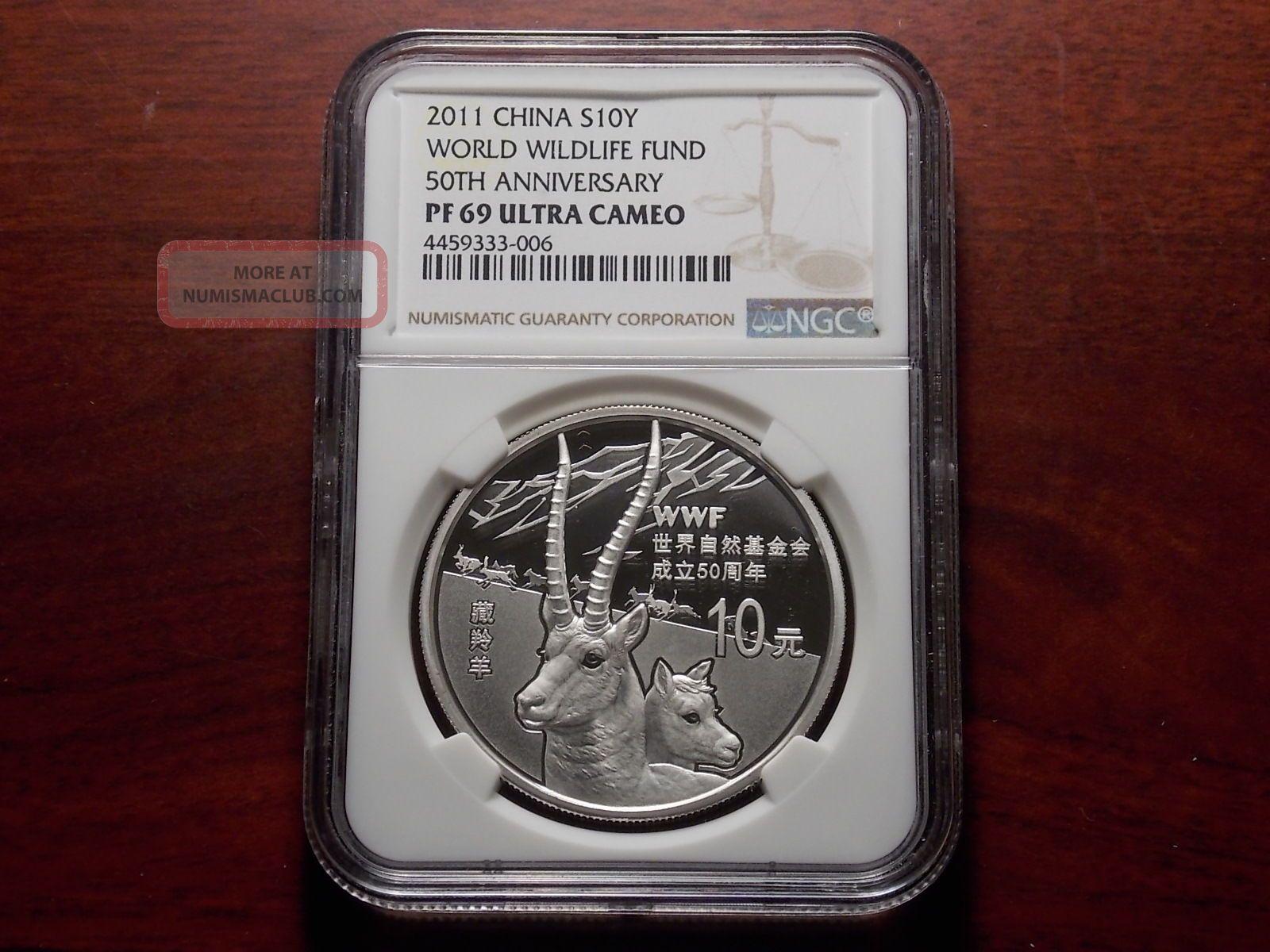 2011 China Wildlife Fund 1 Oz Silver 10 Yuan Proof Coin Ngc Pf - 69 Ultra Cameo China photo