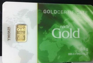 1 Each 1/2 Or.  5 Gram 999.  9 24 Kt Nadir Gold Bar In Goldcertificate Assay Igr photo