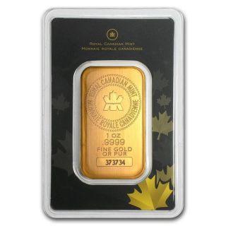 1 Oz Royal Canadian Rcm Gold Bar.  9999 Fine (in Assay) photo