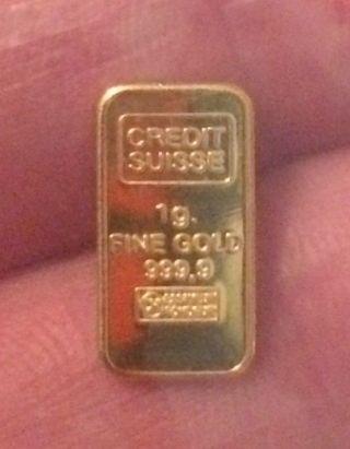 1 Gram Gold Bar 9999 Fine 24k Solid Gold Bar Credit Suisse photo