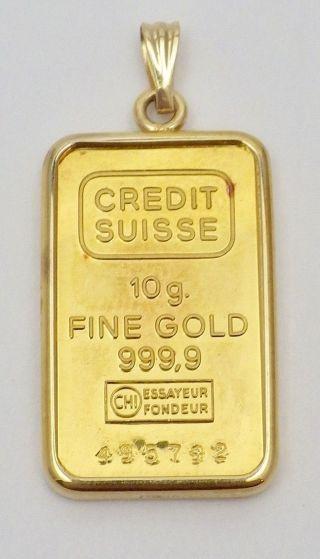 Estate Credit Suisse 10.  0 Grams 999.  9 Fine Gold Bar Ingot Pendant 14k Frame photo