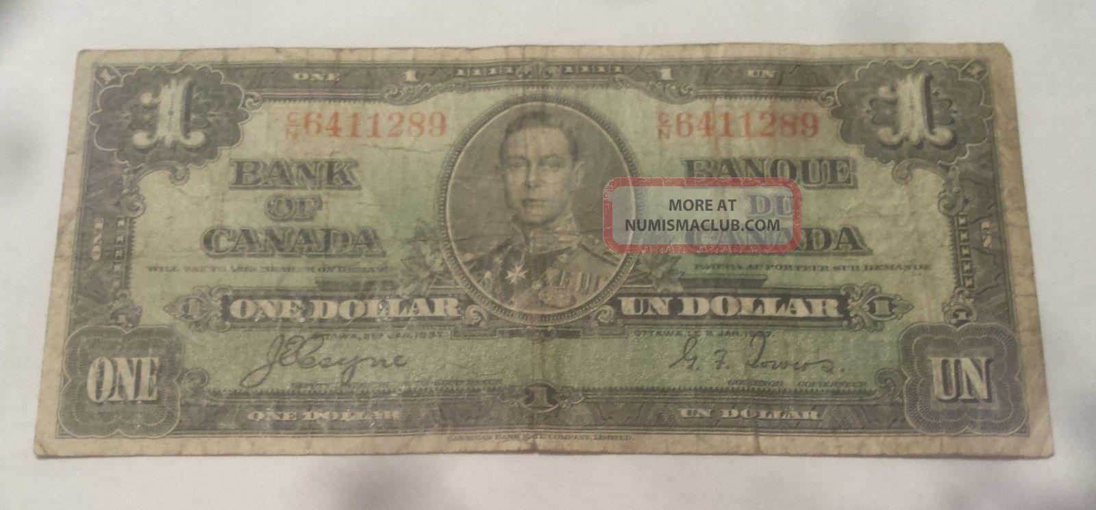 1937 Bank Of Canada $1 Dollar Bill (coyne/towers) Prefix C/n 6411289 Canada photo