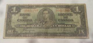 1937 Bank Of Canada $1 Dollar Bill (coyne/towers) Prefix C/n 6411289 photo