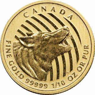 2015 Canada 0.  99999 1/10 Oz Gold Howling Wolf - Uncirculated Bu photo