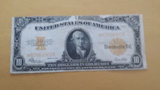 1922 $10 Dollar Gold Certificate Note Large photo