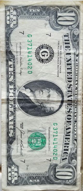 1985 $10 Ten Dollar Bill American Currency Usa Old Small Federal Reserve Note D photo