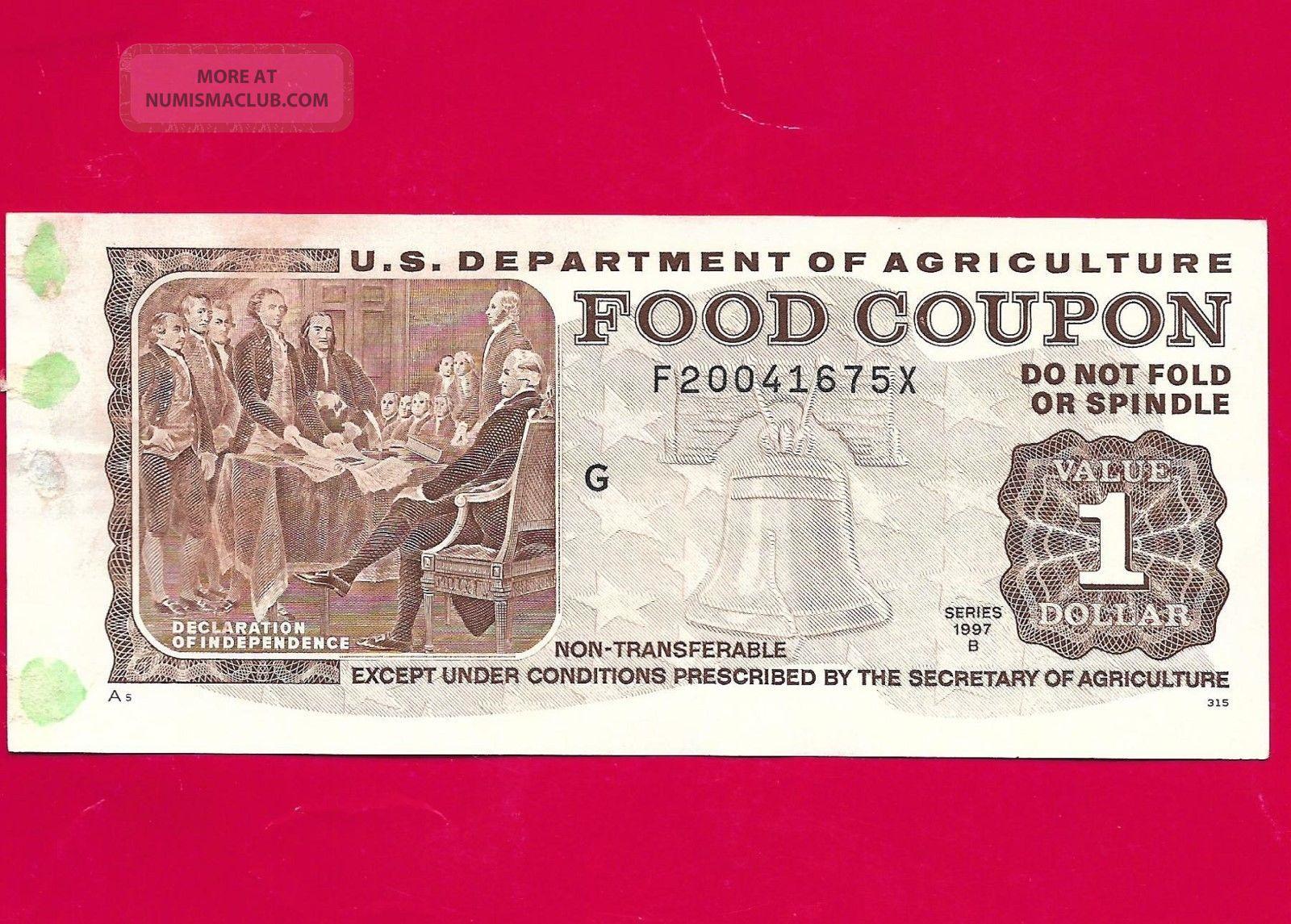 1997 B $1 Food Stamp Coupon,  U.  S.  Dept.  Agriculture (obsolete) F20041675x M/c G Paper Money: US photo